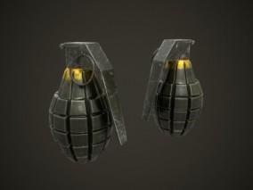 地雷 高爆军用香瓜科幻手雷  手榴弹 炸弹 武器 二战 美军手雷 3d模型