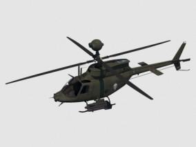 OH-58D直升机 侦察武装直升机 战斗机 美式军用直升机 武装基奥瓦侦察直升机 3d模型