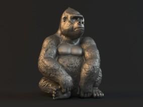 银背黑猩猩 金刚猩猩 大猩猩 猩猩手办 3D打印 灵长类动物 3d模型