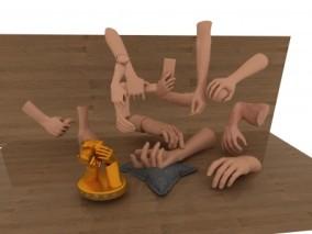 写实卡通手 手合集 手掌手指手臂 男人手部 男性手 手模型 手高模 3d模型