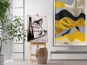 现代 北欧画架 鼓 艺术品 3d模型
