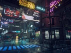 黑暗赛博朋克城市CG场景模型