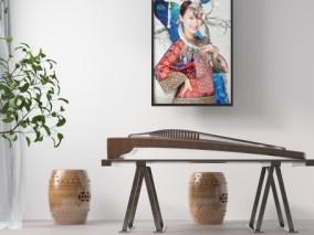 新中式乐器 古筝 娱器 3d模型