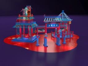 中庭美陈国潮美陈亭子3D模型