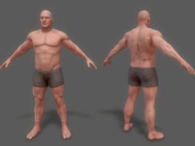 男人 男性 裸模 基础 人体 中年男性 3d模型