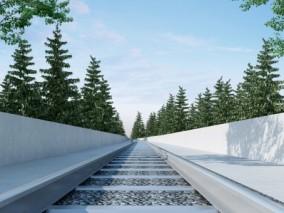 现代火车轨道3D模型