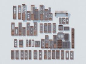 中式木雕门窗3D模型