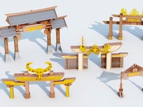中式农家院大门3D模型