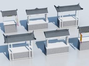 中式 古镇 商铺售货车  3d模型