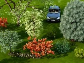 现代公园植物3D模型
