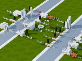现代学校大门3D模型