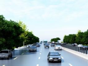 现代车车道交通3D模型