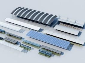 现代停车棚 工厂厂棚 3d模型