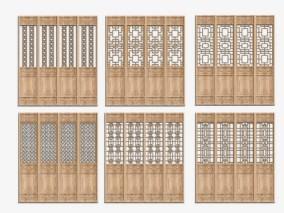 中式木雕木门组合3D模型