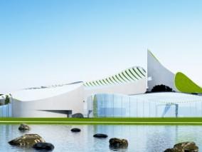 现代剧院3D建筑模型