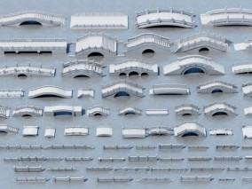 中式石拱桥 3d模型