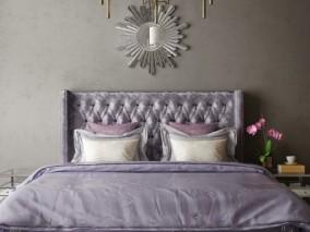 罗曼蒂克紫 欧式古典大床 3d模型