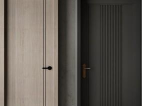 门 现代木门 防盗门 黑色装甲门 3d模型