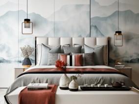 现代中式卧室 床 3d模型