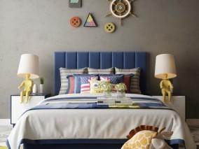 现代 蓝色调色块 卡通大床 3d模型