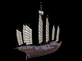 次世代 PBR 3D模型 3D 古代船  大船 商船 战船 3d模型