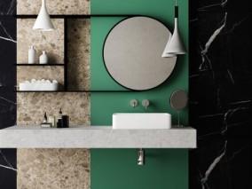 冷色调撞色卫浴台盆 大理石柜子 3d模型