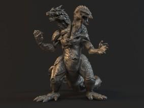 哥斯拉 泰坦巨兽 外星生物 霸王龙 双头龙 怪兽之王 3d模型