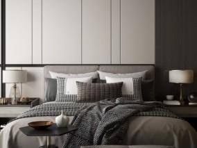 休闲新中式床具组合家具3D模型