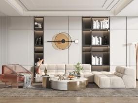 现代白绒椅子 沙发 书架 客厅 3d模型