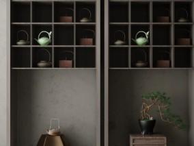 茶具摆设柜子3D模型