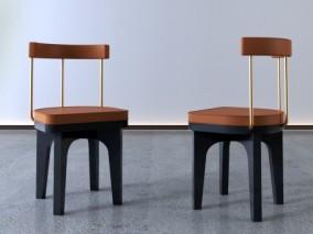 现代餐椅单椅组合3D模型