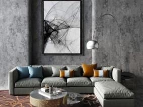 现代时尚 灰绒沙发茶几 3d模型