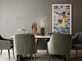 现代简约餐桌餐椅 桌子 工艺品 装饰画 3d模型