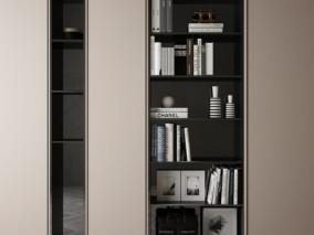 现代高级时尚书柜 柜子 3d模型