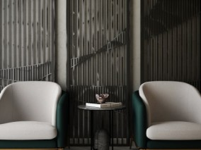 深墨色椅子 桌子 窗栏 3d模型