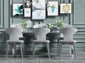 现代家庭餐桌椅 3d模型
