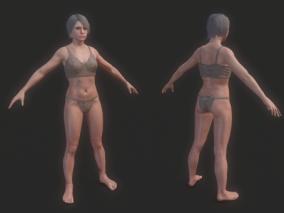 女基础裸模人体CG模型