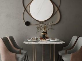 大理石4人餐桌3D模型
