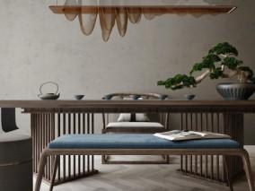 茶艺文化桌椅组合家具3D模型