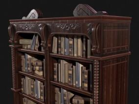 PBR-复古木制书架CG模型