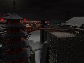 东京城市日本城市夜景CG场景模型