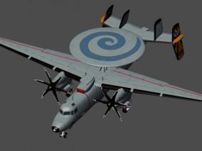 E-2鹰眼预警机,模型(MAX2015,FBX)贴图PSD(4k) 3d模型