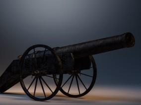 古代火炮土炮 海军大炮 甲午战争清朝大炮 铜炮 射击炮台 3d模型