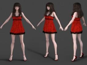 性感睡衣绸缎裙美女 居家服 女青年 写实女人 女模特 3d模型