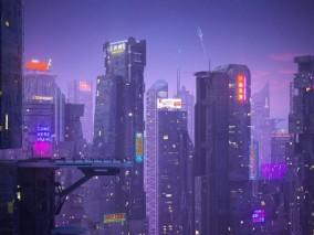 科幻建筑高楼 未来城市 赛博朋克世界 模型组合 3d模型