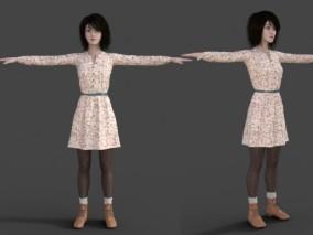 性感漂亮穿裙子女孩CG模型