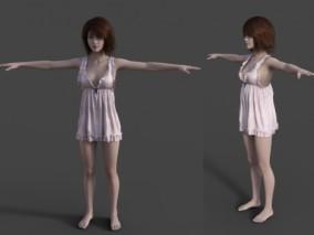 穿睡衣女孩睡衣美人CG模型