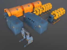 工厂设备 电缆机器 输送机 敷设工具 电缆线缆设备厂 3d模型
