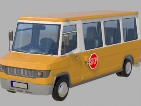 国产校车公共汽车3D模型