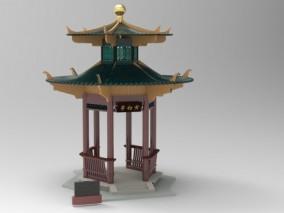 寅初亭园林景观建筑3D模型